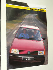 Prospectus PEUGEOT 205 GT 1985  brochure prospekt  car catalogue