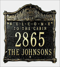 Whitehall Welcome to the Cabin Address Marker Custom Plaque 17 Colors & No Rust