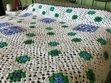 """Granny Square Afghan White Background Green Purple Blue Pink 80"""" X 100"""" EUC"""