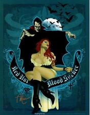 ANT LUCIA - RED HOT BLOOD SUCKER SIGNED ART PRINT DRACULA CLASSIC MOVIE MONSTERS