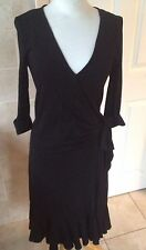Sticky Fingers London Ladies Black Wrap Over Dress Size S (8-10) Great Condition