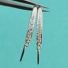 14k Solid White Gold Diamond Earwires