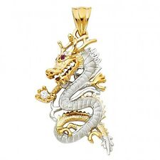 14K Two tone Gold CZ Dragon Pendant GJPT1538