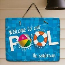 Personalized Welcome To Our Pool Sign Custom Family Name Pool Slate Plaque Sign