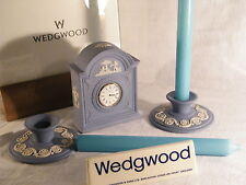Wedgwood Blue Jasper Ware Mantle Clock & Matching Candlesticks, Fantastic !