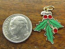 Vintage gold 3D CHRISTMAS HOLIDAY HOLLY MISTLETOE PLANT ENAMEL BRACELET charm #F
