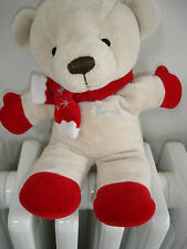 HARRODS BEIGE RED CHRISTMAS SNOWFLAKE SCARF TEDDY BEAR SOFT TOY RATTLE