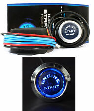Push Button Start Ignition Universal 12V Car Engine Switch Starter Kit Blue LED