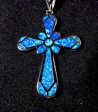 "Sterling 925 Silver SF Pendant & Necklace Blue Lab Fire Opal Large 1 1/2""  CROSS"