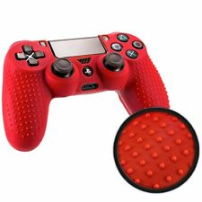 CUSTODIA COVER CONTROLLER JOYSTICK SONY PLAYSTATION 4 PS4 SILICONE ROSSO GRIP