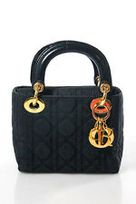 Christian Dior Black Nylon Gold Tone HardwareSolid Micro Lady Handbag Small