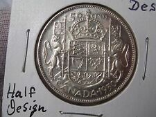 1950 Design type SILVER Fifty Cent HALF DOLLAR. CANADA. Better grade.