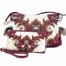 Western Purse Rhinestone Cross Conceal Carry Shoulder Handbag Wallet Set Red