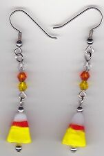 Halloween Earrings -Candy Corn beaded with Swarovski Beads