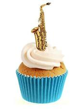 Novelty Saxophone 12 Edible Stand Up wafer paper cake toppers birthday music