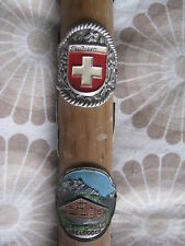 Antique Old Vintage Wooden Walking Stick Cane With Badges - Swiss Weissenburgh
