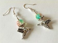 BLUE GREEN & PINK CRACKLE BEAD & HUMMING BIRD 925 SILVER WIRES DANGLE EARRINGS