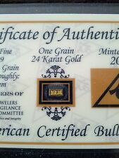 (4 Pack) of  1GRAIN 24K SOLID GOLD BULLION ACB MINTED BAR 99.99 FINE With COA's