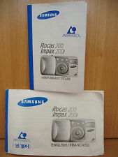 SAMSUNG ROCAS 200~IMPAX 200i APS FILM CAMERA INSTRUCTION AND TITLE MANUAL 5MY13