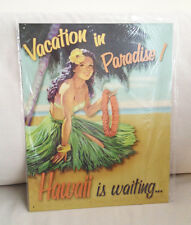 VACATION IN PARADISE Hawaii is Waiting Tin Sign Metal BAR Diner TRAVEL NEW