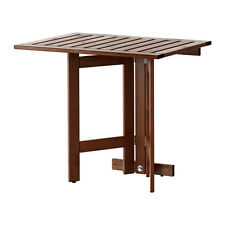 SPACE SAVING IKEA ÄPPLARÖ Gateleg table for wall, outdoor, brown stained 80x56cm