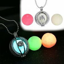 Hollow Glow In The Dark Locket Necklace With 3 Beads Eye Fashion Hallowmas Gifts