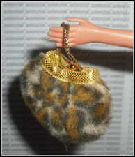 PURSE BARBIE SHOPPING CHIC DOLL FAUX FUR ANIMAL PRINT BAG ACCESSORY  FOR DIORAMA