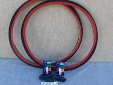 [2] NEW 700 X 35 C BLACK & RED   BICYCLE TIRES W [2] TUBES & [2] LINERS FIXIE