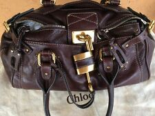 CHLOÉ Dark brown Leather Paddington GOLD LOCK Shoulder Bag Purse