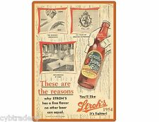 Vintage Stroh's Beer Bottle 1954 Scene  Refrigerator / Tool Box Magnet Man Cave