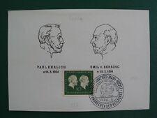BRD 1954 'Geburtstag Ehrlich/Behring' MiNr 197 auf FDC-Karte (B144)