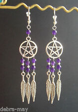 Amethyst Bead Pentagram Dreamcatcher Dangly Feather Charm Earrings - Wicca