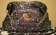 Betsey Johnson Leopard Cheetah Black and Silver Sequins Hand Bag Purse
