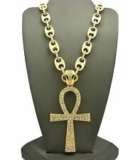 MEN ICED OUT GOLD PLATED ANKH CROSS PENDANT 12mm HEAVY LINK CHAIN NECKLACE S34G
