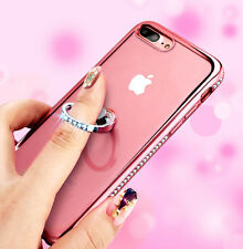 for iPhone 7+ PLUS - Rose Gold Diamond Bling Ring Holder TPU Rubber Case Cover