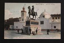 Carte postale ancienne animée ALGERIE -ALGER Mosquée Djemaas-Djedid et Statue