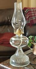 "Large Clear Glass Oil Lamp With Chimney -  Eagle burner P&A Mfg Co - 18"" Tall"