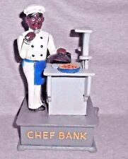 BLACK AMERICANA CAST IRON BLACK CHEF AT COOK STOVE MECHANICAL COIN SAVINGS BANK