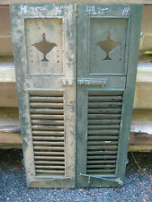 PaiR c1890 LAMP cutout victorian wooden house SHUTTERS green 48.25 x 14 x 1 3/8""