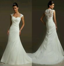 White/ivory Cap sleeves Mermaid Bridal Wedding Dress Size 6_ 18 UK