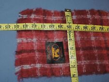Scottish Edinburgh Mills 95% Mohair Red Pink Plaid Tartan Scarf 8 x 44 Fringe