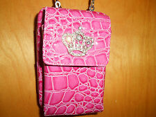 Cell Phone Case Mobile Bag Pouch Mini Shoulder Bag Pink with Rhinestone Crown