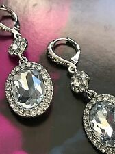 Givenchy Silver Tone Clear Swarovski Crystal Dangle Drop Earrings NWT 60309322