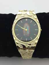 "New Men's 10K Yellow Gold 8"" Nugget Style Geneve Guadalupe Watch with Diamond"