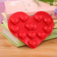 DIY Heart Love Cake Mold Soap Flexible Silicone Mould For Candy Chocolate Cake O