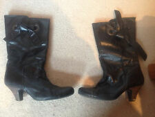 Topshop Black Leather Heeled Boots with Tie detail size 7