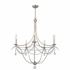 CRYSTORAMA Metro 5 Light Crystal Beads Silver Chandelier, Model#415-SA-CL-MWP