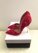 Kurt Geiger London Bond Red Leather & Lace Celeb Court Shoes Size 6 39 RRP £220