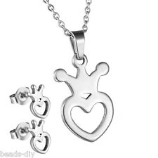 1Set BD Womens Stainless Steel Earring Pendant Necklace Jewelry Set Heart