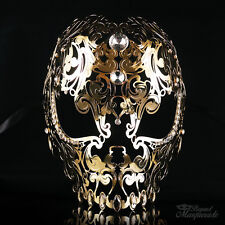 Skull Metal Venetian Masquerade Mask for Men or Women, Gold Masquerade Mask